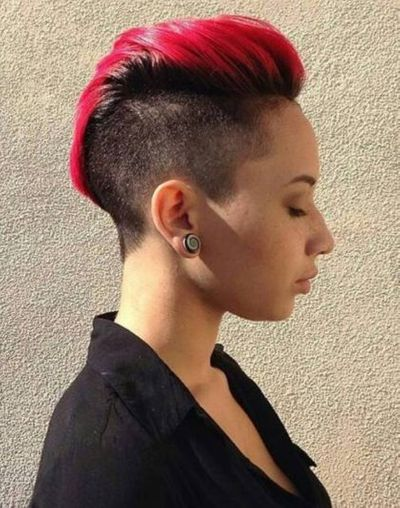 Pink Red Hair Color With Mohawk Hairstyle