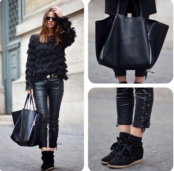 Ruffled Top And Leather Jeans For Stylish Appeal