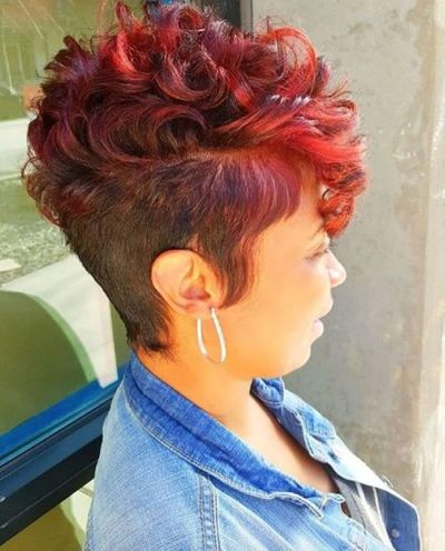 Unique Short Red Hairstyle For Women