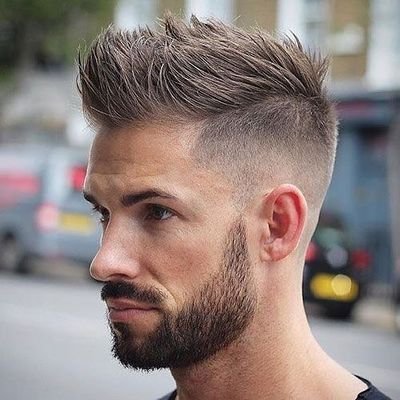 Spiky Hairdo With High Fade And Full Beard Look