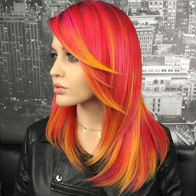 Rink Red Hair With Yellow Highlights